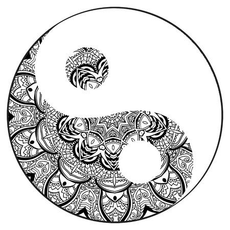 Carte Ornement avec mandala Yin Yang. Élément de cercle géométrique faite dans le vecteur. Cartes parfaites pour tout autre type de conception, d'anniversaire et d'autres vacances, kaléidoscope, médaillon, le yoga, l'inde, arabe Vecteurs