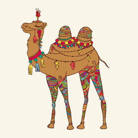 camel silhouette: Greeting Beautiful card with camel. Frame of animal made in vector. Perfect cards, or for any other kind of design, birthday and other holiday. Seamless hand drawn map with camel desert.