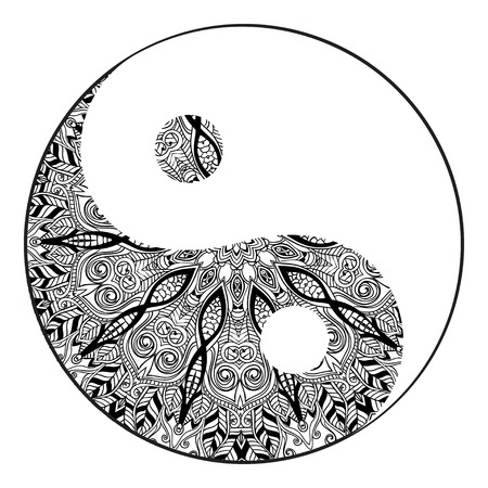 yin y yang: Tarjeta del ornamento con la mandala de Yin Yang. Elemento círculo geométrico hecho en vector. Tarjetas perfectas para cualquier otro tipo de diseño, cumpleaños y otro día de fiesta, caleidoscopio, medallón, el yoga, la india, árabe