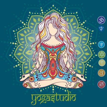 cuerpo hombre: Ornamento tarjeta hermosa con vector de yoga. Dibujado elemento geométrico mano. Tarjetas perfectas para cualquier otro tipo de diseño, cumpleaños y otras fiestas, caleidoscopio, medallón, el yoga, la india, árabe Foto de archivo
