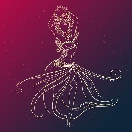Ornamento tarjeta hermosa con la danza del vientre niña. Dibujado elemento geométrico mano. Tarjetas perfectas para cualquier otro tipo de diseño, cumpleaños y otro día de fiesta, caleidoscopio, medallón, el yoga, la india, árabe Ilustración de vector