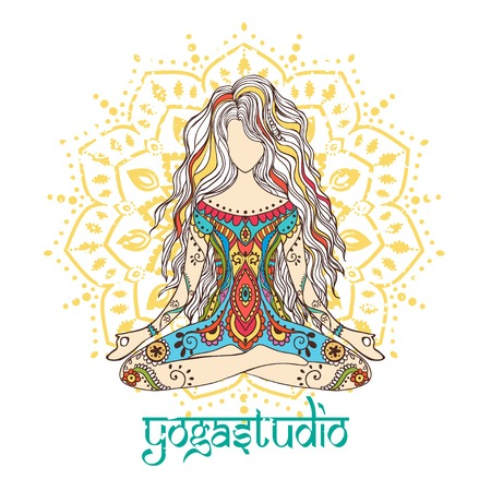 chakra energy: Ornament beautiful card with Vector yoga. Geometric element hand drawn. Perfect  cards for any other kind of design, birthday and other holiday, kaleidoscope,  medallion, yoga, india, arabic