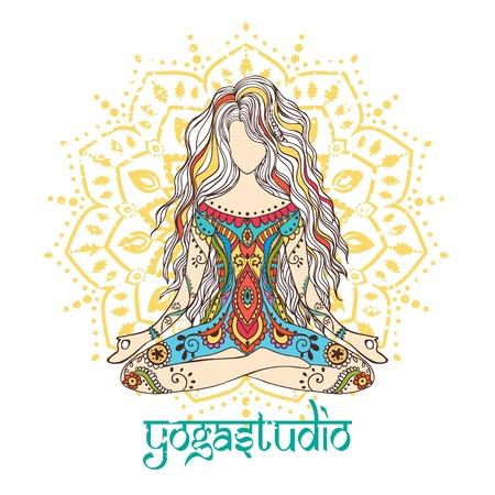 Ornamento tarjeta hermosa con vector de yoga. Dibujado elemento geométrico mano. Tarjetas perfectas para cualquier otro tipo de diseño, cumpleaños y otras fiestas, caleidoscopio, medallón, el yoga, la india, árabe