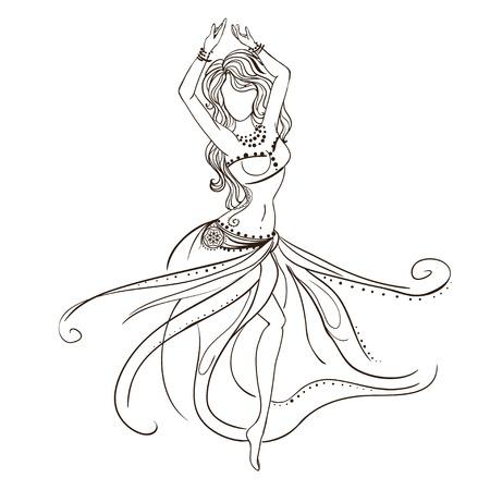 여자 밸리 댄스와 장식 아름다운 카드. 기하학적 요소 손으로 그린. 아랍어 디자인, 생일 및 기타 휴일, 만화경, 메달, 요가, 인도, 다른 종류의를위 일러스트