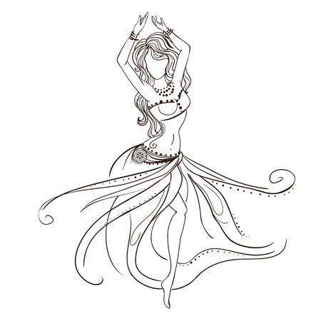 navel: Ornament beautiful card with girl belly dance. Geometric element hand drawn. Perfect  cards for any other kind of design, birthday and other holiday, kaleidoscope,  medallion, yoga, india, arabic