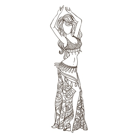 bellydance: Ornament beautiful card with girl belly dance. Geometric element hand drawn. Perfect  cards for any other kind of design, birthday and other holiday, kaleidoscope,  medallion, yoga, india, arabic