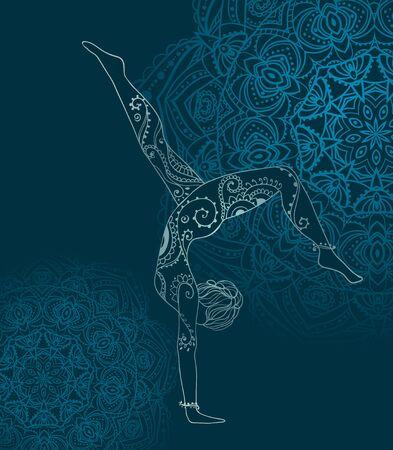 Ornement belle carte avec Vector yoga. Géométrique élément dessiné à la main. Cartes parfaites pour tout autre type de conception, d'anniversaire et d'autres vacances, kaléidoscope, médaillon, le yoga, l'inde, arabe