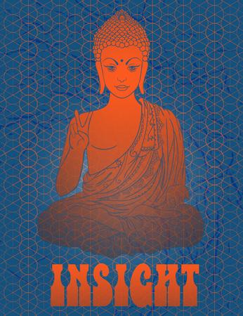 position d amour: Statue de Bouddha dans la position du lotus, m�ditation. G�om�trique �l�ment dessin� � la main. Affiche psych�d�lique dans le style de 60, 70. G�om�trie sacr�e. Promu la paix et l'amour.