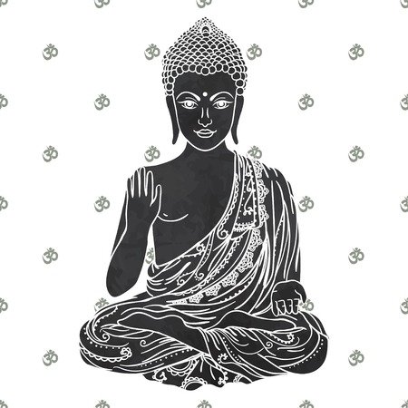 Ornament beautiful card with Buddha. Geometric element hand drawn. Medallion, yoga, india, arabic, lotus