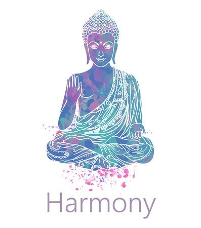 dao: Ornament beautiful card with Buddha. Geometric element hand drawn. Medallion, yoga, india, arabic, lotus Illustration