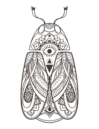 vw: Greeting card with bug. Ornamental of Insect made in vector. Beetle ornamental. Element for design. Hand drawn map with  bug ornamental.