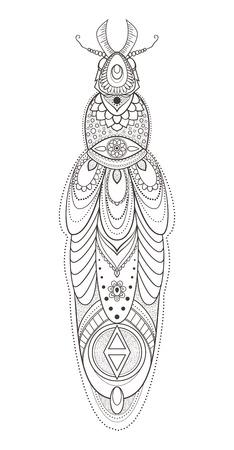 color in: Tarjeta de felicitación con el insecto. Ornamental de insectos hizo en el vector. ornamental escarabajo. Elemento para el diseño. Mapa dibujado a mano con el insecto ornamental.