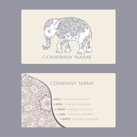 Set of business card and invitation card templates with lace set of business card and invitation card templates with lace ornament vector background indian stopboris Image collections
