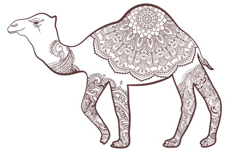 Greeting card with camel. Ornamemtal of animal made in vector. Perfect cards, or for any other kind of design, for Coloring Book design. Seamless hand drawn map with camel desert.