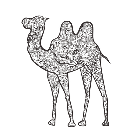 Greeting card with camel. Ornamemtal of animal made in vector. Design element for decorations. Hand drawn map with camel desert.