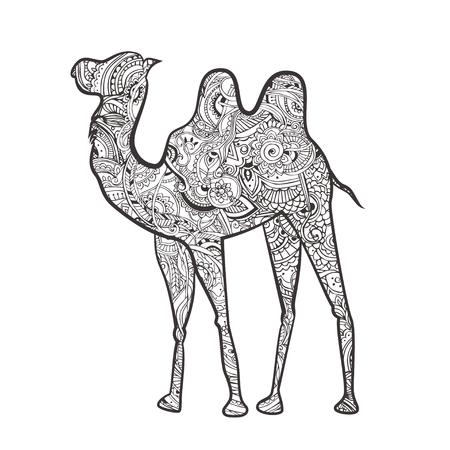 camello: Tarjeta de felicitación con el camello. Ornamemtal de animales hecho en vector. Elemento de diseño para la decoración. Mapa dibujado a mano con el desierto en camello. Vectores