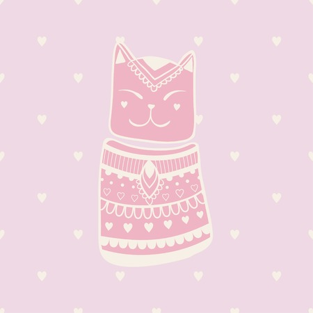 patter: Beautiful patter with cat. Pattern of cats made in vector.Card for design, birthday and other holiday. Cute illustration.