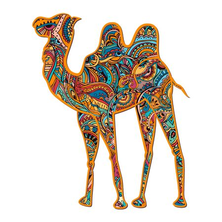 camel in desert: Greeting card with camel. Ornamemtal of animal made in vector. Design element for decorations. Hand drawn map with camel desert.