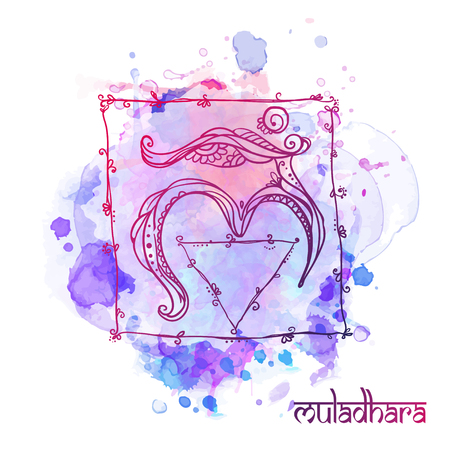 muladhara: Ornament card with chakra. Geometric element hand drawn. Perfect  cards for any other kind of design, yoga center, class, Muladhara,Manipu,r Anahata, Vishudha, Ajna, Sahasrara, swadhistana