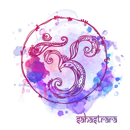 sahasrara: Ornament card with chakra. Geometric element hand drawn. Perfect  cards for any other kind of design, yoga center, class, Muladhara,Manipu,r Anahata, Vishudha, Ajna, Sahasrara, swadhistana