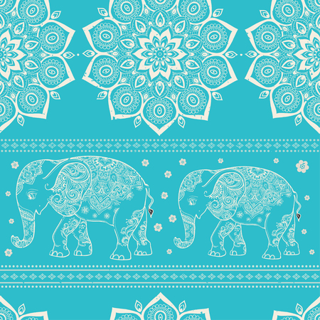 persia: Greeting Beautiful card with Elephant. Pattern of animal made in vector. The pattern in ethnic style, elephant and decorations. Hand drawn map with Elephant.