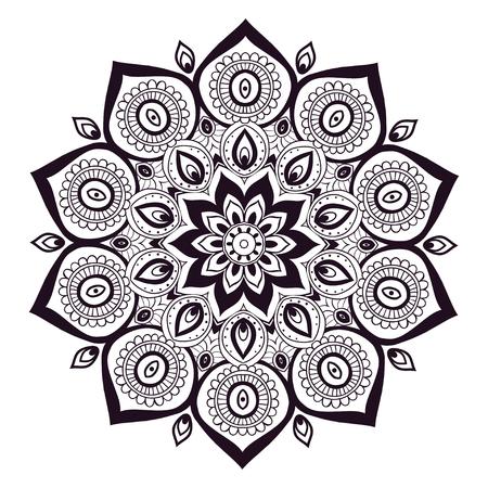 Ornement carte d'invitation avec mandala. élément de cercle géométrique faite dans le vecteur. Mandala pour les cartes décoration de vacances, fond et sites. Kaléidoscope, médaillon, le yoga, l'Inde, arabe Vecteurs