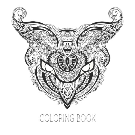 owls: Card with an illustration. Element of ornament for childrens coloring books. Stylized Owl Illustration