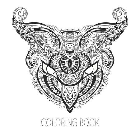 buhos: Tarjeta con una ilustración. Elemento del ornamento para los libros infantiles para colorear. estilizada del búho