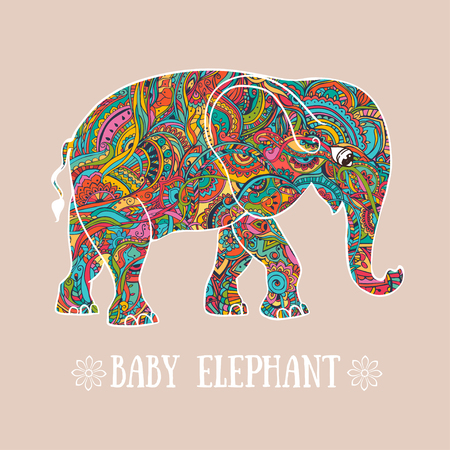 indian elephant: Greeting Beautiful card with Elephant. Frame of animal made in vector. Elephant Illustration for design, pattern, textiles. Hand drawn map with Elephant.