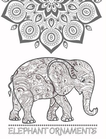 elefante: Tarjeta de felicitación hermosa con el elefante. Marco de animales hechos en vector. Elefante Ilustración para el diseño, patrón, textil. Mapa dibujado a mano con el elefante. Vectores