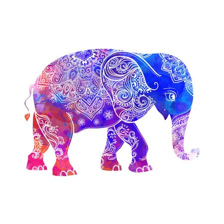 elefante: Tarjeta de felicitación hermosa con el elefante. Marco de animales hechos en vector. Estilo hippie. Elefante Ilustración para el diseño, patrón, textil. Mapa dibujado a mano con el elefante.
