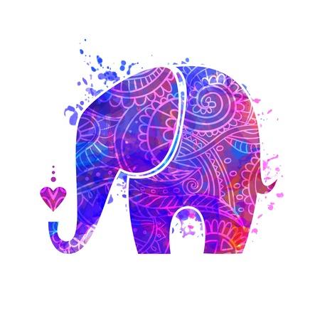 코끼리와 함께 아름 다운 인사말 카드입니다. 동물의 프레임 벡터로했다. 디자인, 패턴, 섬유에 대한 코끼리의 그림입니다. 손 코끼리와지도를 그려.