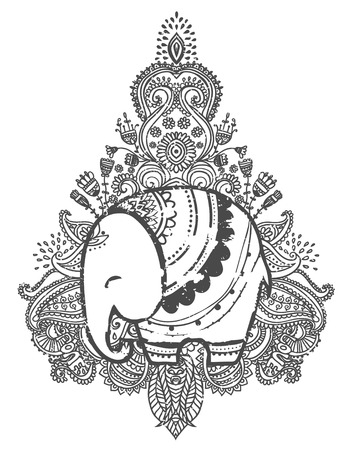 throat chakra: Greeting Beautiful card with Elephant. Frame of animal made in vector. Elephant Illustration for design, pattern, textiles. Hand drawn map with Elephant.
