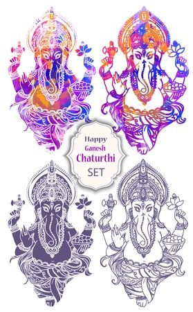 mediation: Ornament beautiful card with God Ganesha. Illustration of Happy Ganesh Chaturthi. Ganesh chaturthi festival dedicated to Ganesha. Hinduism in India. Mediation Illustration
