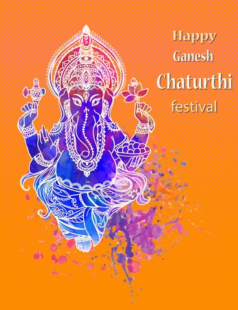 indian art: Ornament beautiful card with God Ganesha. Illustration of Happy Ganesh Chaturthi. Ganesh chaturthi festival dedicated to Ganesha. Hinduism in India. Mediation Illustration