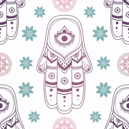 kabbalah: Ornament card with hamsa. Geometric circle element made in vector.Hamsa pattern symbo traditional, kaleidoscope, medallion, yoga, india, arabic