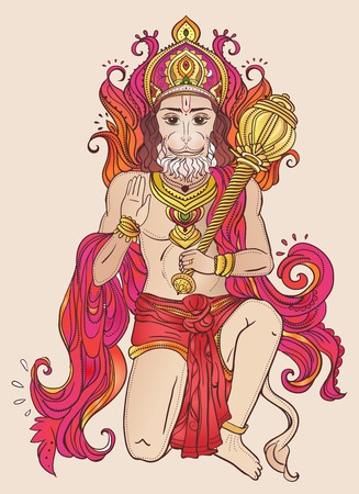 sita: Ornament card with of Lord Hanuman. Illustration of Happy Dussehra. Perfect  cards for any other kind of design, birthday and other holiday, kaleidoscope,  medallion, yoga, india, arabic
