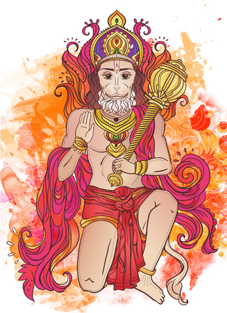 editable: Ornament card with of Lord Hanuman. Illustration of Happy Dussehra. Perfect  cards for any other kind of design, birthday and other holiday, kaleidoscope,  medallion, yoga, india, arabic