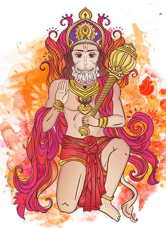 Tarjeta con el ornamento del Señor Hanuman. Ilustración de feliz Dussehra. Tarjetas perfectas para cualquier otro tipo de diseño, cumpleaños y otro día de fiesta, caleidoscopio, medallón, el yoga, la india, árabe Ilustración de vector