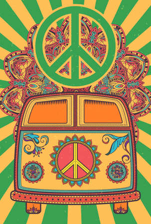 Hippie vintage car a mini van. Ornamental background. Love and Music with hand-written fonts, hand-drawn doodle background and textures. Hippy color vector illustration. Retro 1960s, 60s, 70s