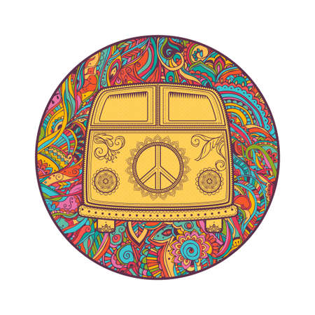 mini van: Hippie vintage car a mini van. Ornamental background. Love and Music with hand-written fonts, hand-drawn doodle background and textures. Hippy color vector illustration. Retro 1960s, 60s, 70s