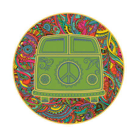 70's: Hippie vintage car a mini van. Ornamental background. Love and Music with hand-written fonts, hand-drawn doodle background and textures. Hippy color vector illustration. Retro 1960s, 60s, 70s