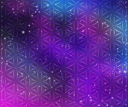 Vector geometric background is. Bright pattern. Sacred geometry, flower of life. Bright psychological pattern. A Trip Into Space