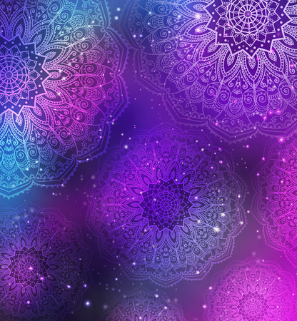dekoration: Verzierung Einladungskarte mit Mandala. Geometrische Kreis Element in Vektor. Mandala für Dekoration Weihnachtskarten, Hintergrund und Websites. Kaleidoskop, Medaillon, Yoga, Indien, Arabisch Illustration
