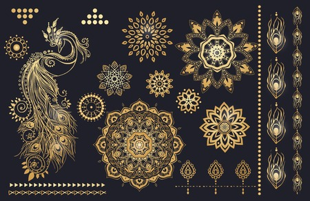 Mandala set and other elements. Vector. Mandala tattoo. Perfect  cards for any other kind of design, birthday and other holiday, kaleidoscope,  medallion, yoga, india, arabic  イラスト・ベクター素材