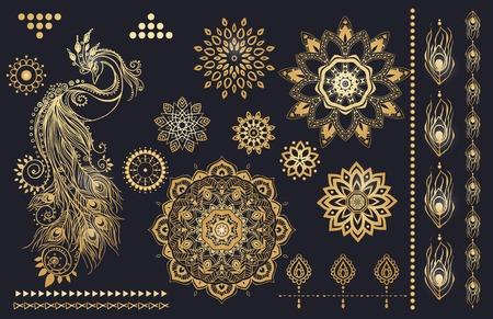 plumas de pavo real: Mandala set y otros elementos. Vector. Mandala del tatuaje. Tarjetas perfectas para cualquier otro tipo de diseño, cumpleaños y otro día de fiesta, caleidoscopio, medallón, el yoga, la india, árabe