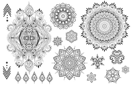 mujer hippie: Mandala set y otros elementos. Vector. Mandala del tatuaje. Tarjetas perfectas para cualquier otro tipo de diseño, cumpleaños y otro día de fiesta, caleidoscopio, medallón, el yoga, la india, árabe