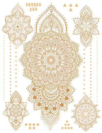 sacred lotus: Mandala set and other elements. Vector. Mandala tattoo. Perfect  cards for any other kind of design, birthday and other holiday, kaleidoscope,  medallion, yoga, india, arabic Illustration