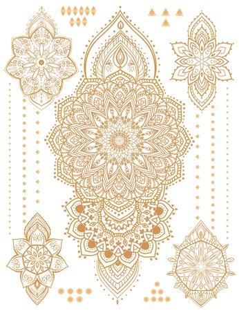flor de loto: Mandala set y otros elementos. Vector. Mandala del tatuaje. Tarjetas perfectas para cualquier otro tipo de dise�o, cumplea�os y otro d�a de fiesta, caleidoscopio, medall�n, el yoga, la india, �rabe