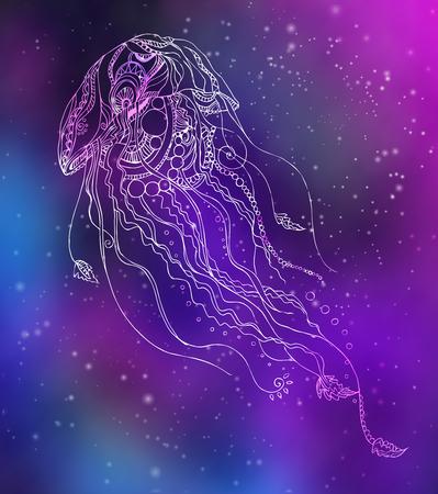 Kartkę z życzeniami z meduzy. Rama wykonana ornament w wektorze. Bez szwu ręcznie rysowane mapy z meduzy. Ilustracje wektorowe